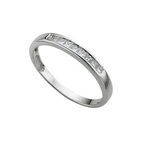 Platinum princess cut diamond half-eternity ring - Product number 3482367