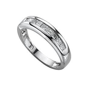 Platinum half carat princess cut diamond half-eternity ring - Product number 3482391