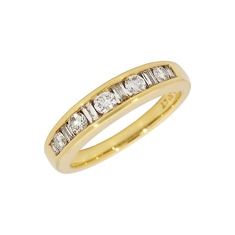 18ct gold half carat diamond half-eternity ring