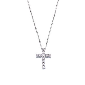 18ct white gold half carat diamond cross pendant - Product number 3484963