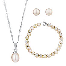 Silver & Pink Pearl Pendant, Bracelet & Earrings Set - Product number 3485641