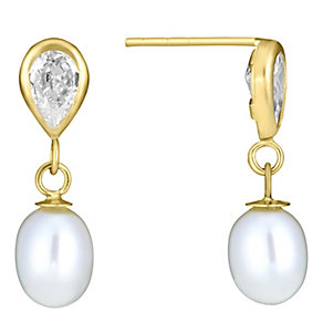 9ct Yellow Gold Pearl & Cubic Zirconia Drop Earrings - Product number 3485943