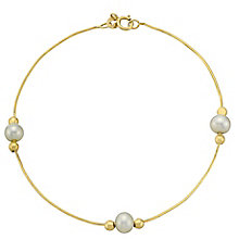 9ct Yellow Gold & Pearl Snake Chain Bracelet - Product number 3485986