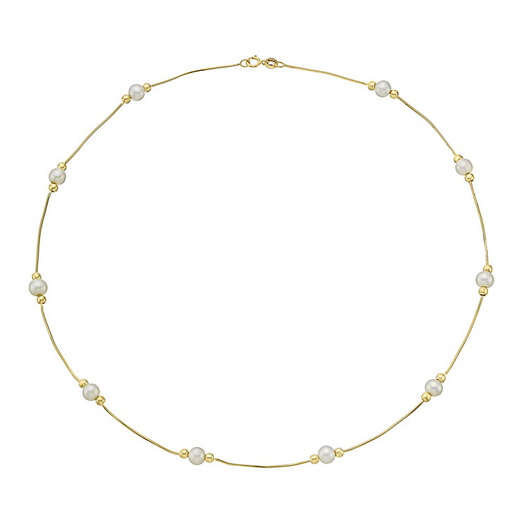 9ct Yellow Gold & Pearl Snake Chain Slim Necklet - Product number 3486079