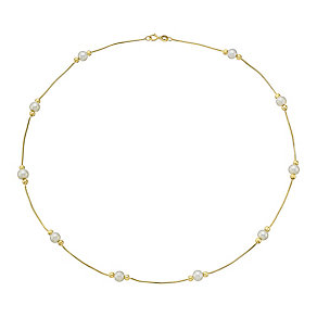 9ct Yellow Gold & Pearl Snake Chain Slim Bracelet - Product number 3486079