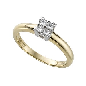18ct gold 1/5 carat princess cut diamond ring - Product number 3486354