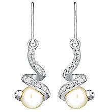 Sterling Silver, Pearl & Crystal Twist Drop Earrings - Product number 3486613