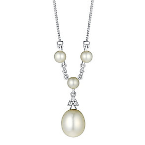9ct White Gold Pearl and Cubic Zirconia Necklace - Product number 3486621