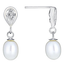 9ct White Gold Pearl & Cubic Zirconia Drop Earrings - Product number 3486737
