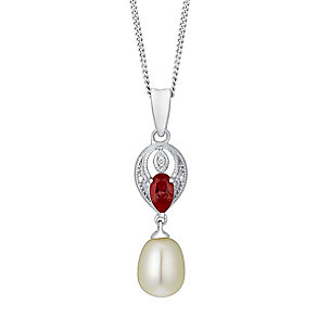 9ct White Gold Diamond, Created Ruby & Pearl Drop Pendant - Product number 3487040