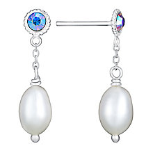 Sterling Silver Pearl & Multi-Coloured Crystal Drop Earrings - Product number 3487075