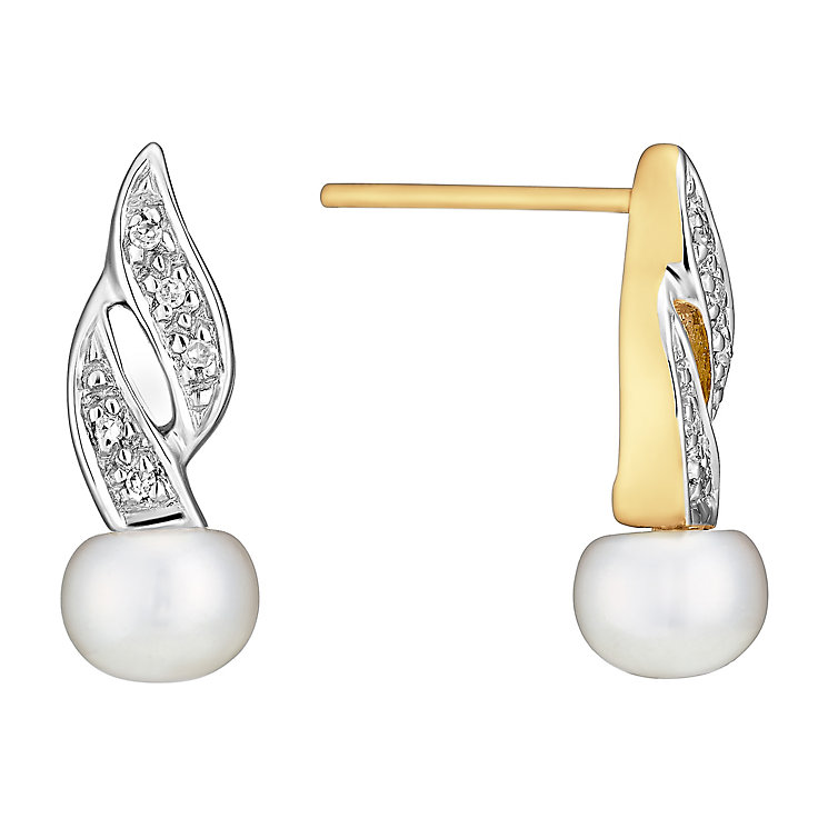 9ct Yellow Gold Pearl & Diamond Double Wave Stud Earrings - Product number 3487091