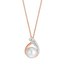 9ct Rose Gold Diamond & Pear Teardrop Pendant - Product number 3487148