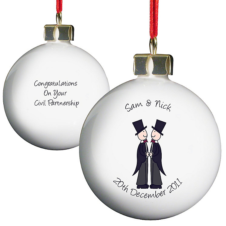 Personalised Male Civil Partnership Bauble - Product number 3487784