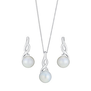 Silver Pearl & Cubic Zirconia Twist Earring & Pendant Set - Product number 3491404