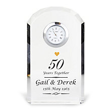 Engraved Golden Anniversary Crystal Clock - Product number 3498417