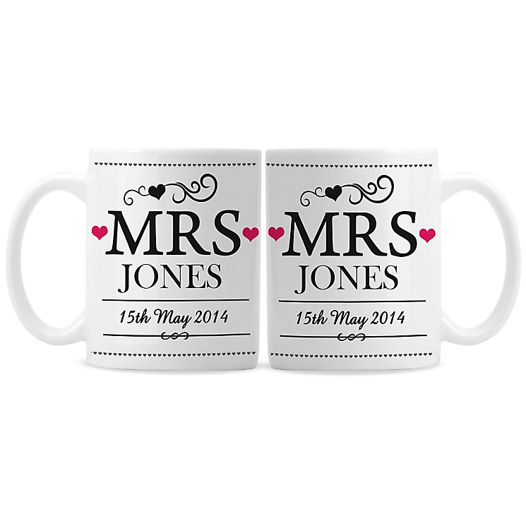 Personalised Mrs & Mrs Mug Set - Product number 3499154