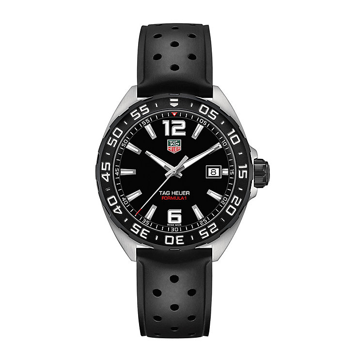 tag heuer watches quality swiss watches ernest jones watches tag heuer f1 men s stainless steel black strap watch product number 3507904