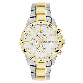 Citizen Eco Drive Men's White Dial Two Tone Bracelet Watch - Product number 3510506