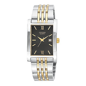 Citizen Men's Black Dial Two Tone Bracelet Watch - Product number 3510743