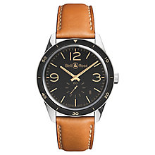 Bell & Ross BRV-123 men's stainless steel tan strap watch - Product number 3512207