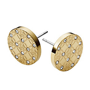 Michael Kors gold-plated monogram disc stud earrings - Product number 3513645
