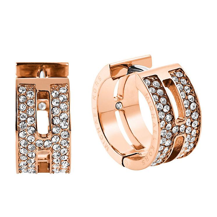 Michael Kors Rose Gold Tone Pave Hug Hoop Earrings - Product number 3513688