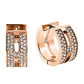 Michael Kors rose gold-plated pave hug hoop earrings - Product number 3513688