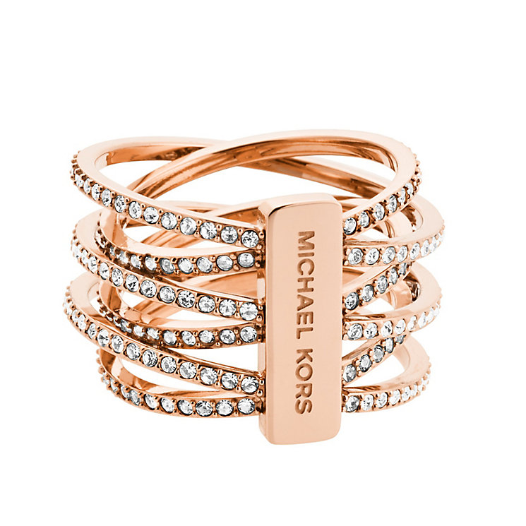 Michael Kors Rose Gold Tone Pave Criss Cross Ring Size O - Product number 3513718
