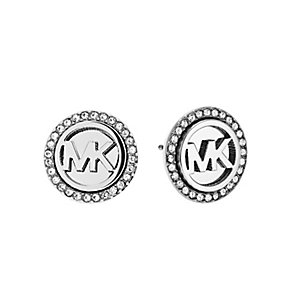 Michael Kors stainless steel pave set logo stud earrings - Product number 3513750