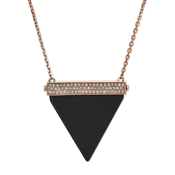 Michael Kors Rose Gold Tone Black Enamel Triangle Necklace - Product number 3514412