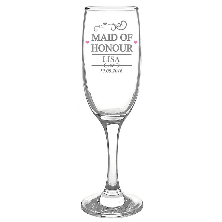 Personalised Mr & Mrs Maid of Honour Glass Flute - Product number 3514463