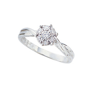 18ct white gold 1/4 carat diamond cluster ring - Product number 3522482