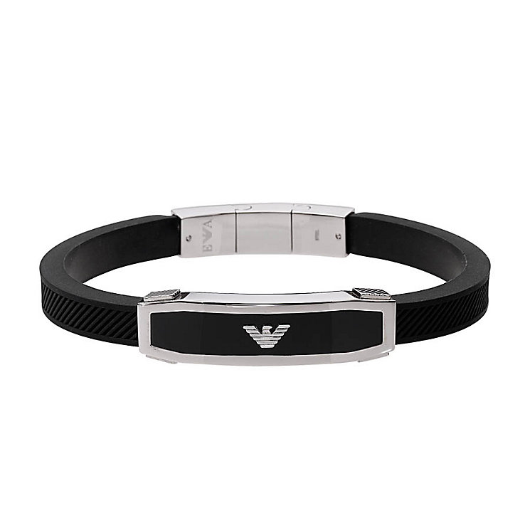 Emporio Armani Men's Stainless Steel & Black Rubber Bangle - Product number 3524159