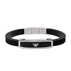 Armani men's stainless steel & black rubber bangle - Product number 3524159