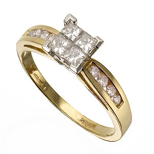 18ct Gold 0.60 Carat Princessa Diamond Ring with Channel-set Diamond Shoulders