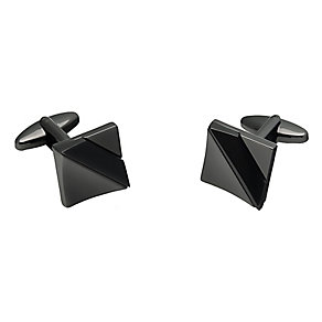 Square Gunmetal Grey Diagonal Striped Cufflinks - Product number 3528774