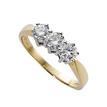 18ct gold three 0.25ct diamond ring - Product number 3532658