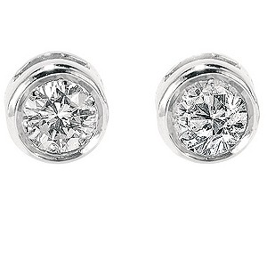 9ct white gold quarter carat diamond solitaire earrings - Product number 3532720