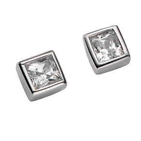 9ct white gold cubic zirconia mini cube earrings - Product number 3533379