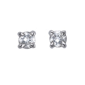 9ct white gold 15 point diamond solitaire earrings - Product number 3533646