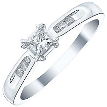 9ct White Gold 1/4 Carat Princess Cut Diamond Solitaire Ring - Product number 3533824