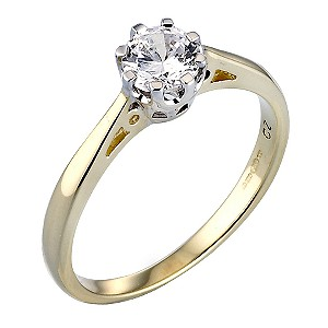 9ct Gold Cubic Zirconia 1/2 Carat Look Solitaire Ring