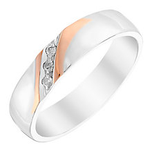 Men's Silver & 9ct Rose Gold Diamond 5mm Wedding Ring - Product number 3535355
