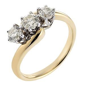 18ct Gold Half Carat Diamond Trilogy Ring