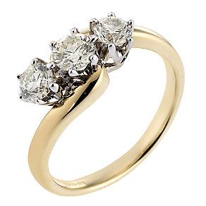 18ct Gold 1 Carat Diamond Three-stone Ring - Product number 3535894