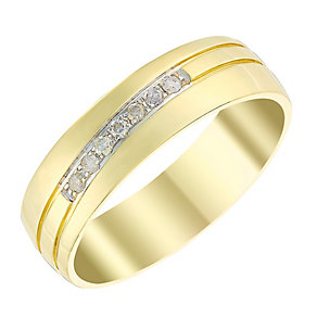 Men's 9ct Yellow Gold & Diamond Polished 6mm Wedding Ring - Product number 3536513