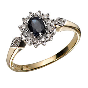 9ct Yellow Gold Diamond And Blue Sapphire Ring - Product number 3536734