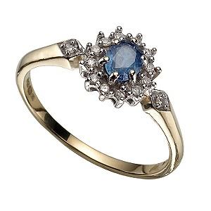 9ct Gold Diamond and Ceylon Sapphire Cluster Ring
