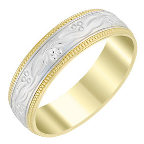 Men's 9ct Yellow & White Gold 6mm Patterned Wedding Ring - Product number 3537110